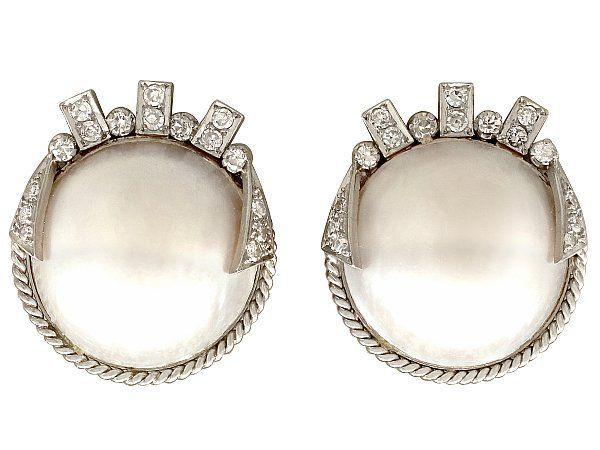 1950s Pearl Art Deco Style Earrings