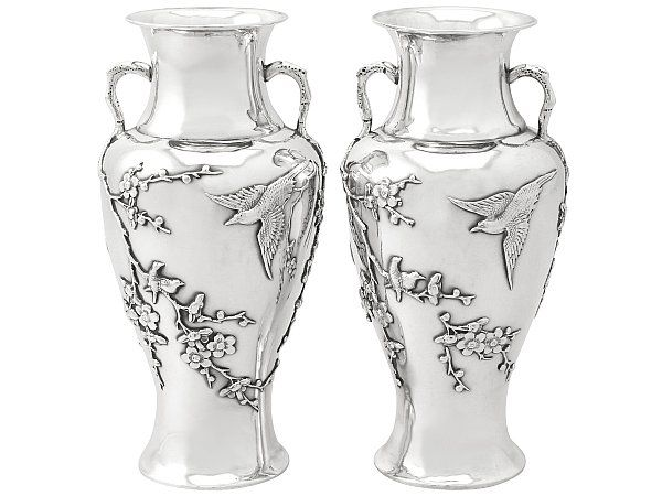 Antique Chinese Export Silver Vases