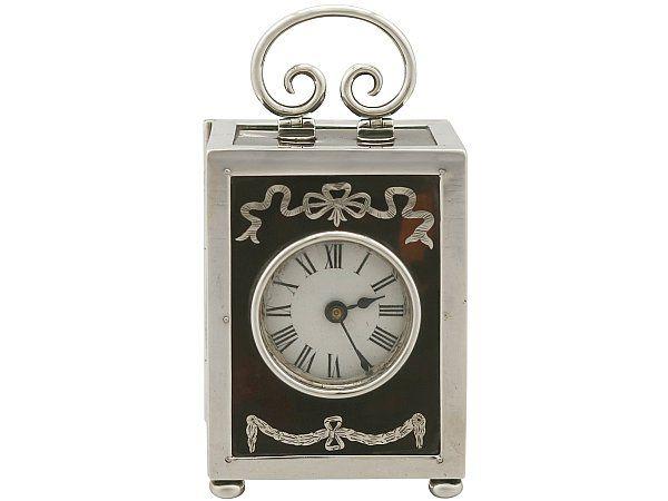 Antique Silver and Tortoiseshell Boudoir Clock