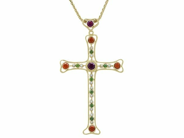 yellow gold cross pendant vintage by boodles
