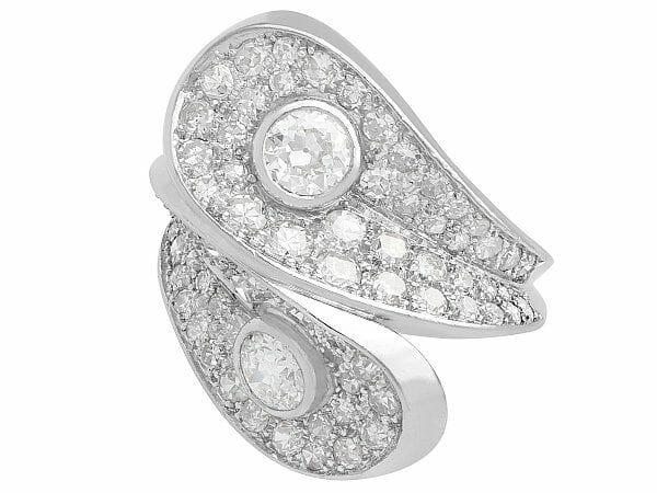 diamond platinum crossover ring