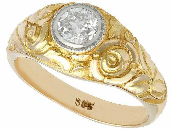 antique diamond yellow gold soliatire ring