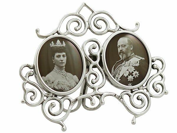 sterling silver double commemorative fame antique edwardian