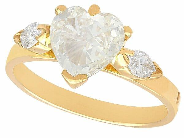 diamond yellow gold engagement ring