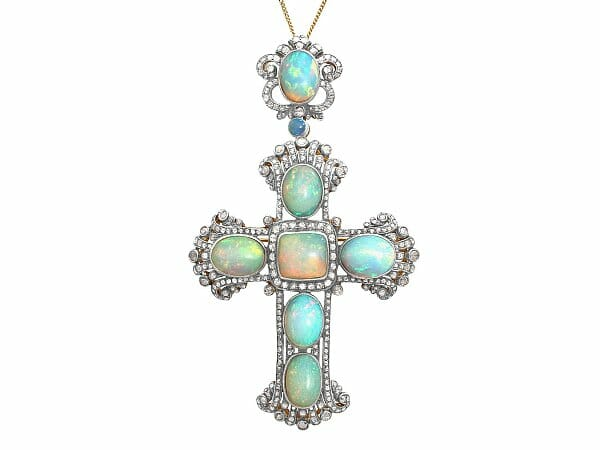 opal diamond silver gilt cross pendent brooch antique