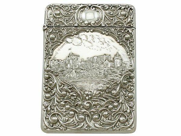 Sterling silver card case antique edwardian