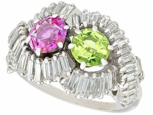 Sapphire diamond dress ring french circa 1955