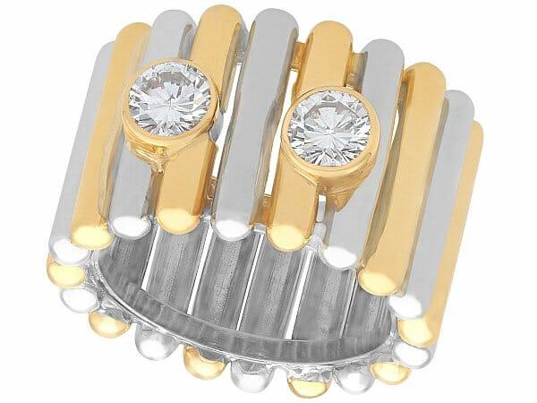 diamond yellow white gold dress ring vintage