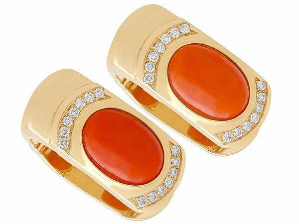 Vintage coral diamond earrings