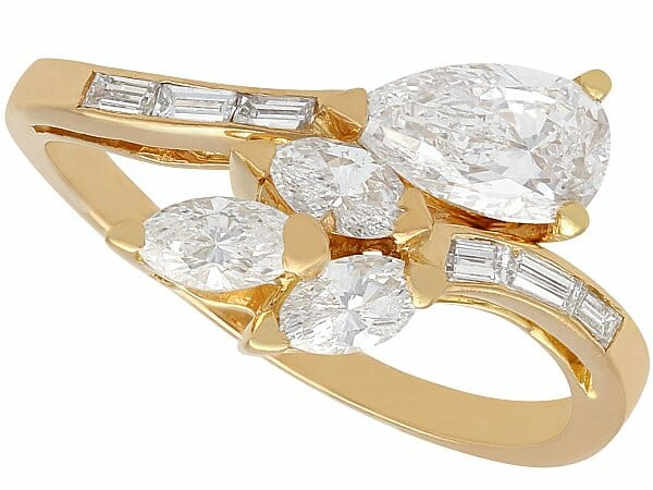 diamond yellow gold crossover ring vintage