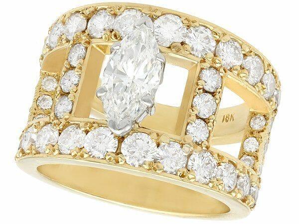 diamond yellow gold dress ring vintage