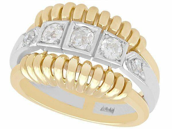 art deco diamond yellow gold dress ring