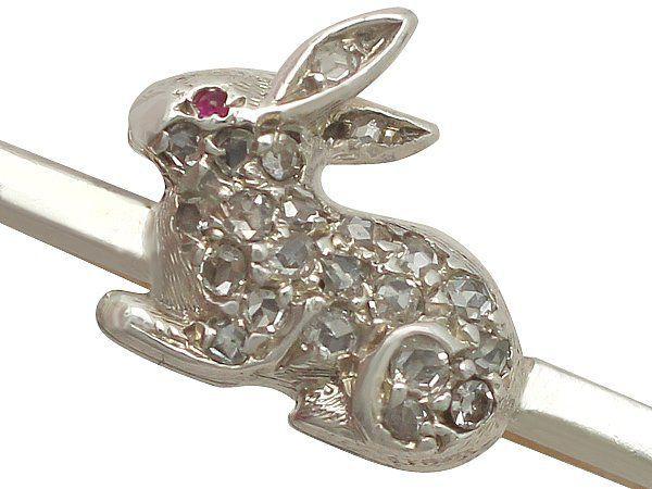Antique diamond rabbit brooch