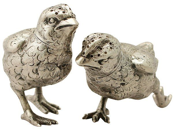 Antique silver chick pepperettes