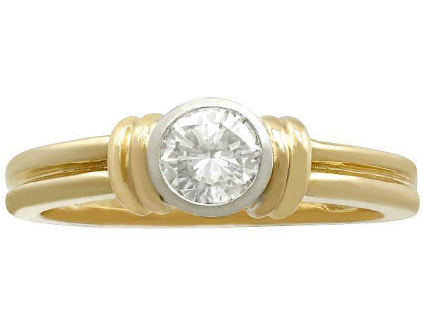 yellow gold bezel set engagement ring