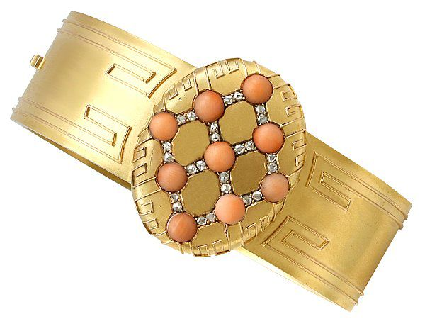 Coral and Diamond Bangle