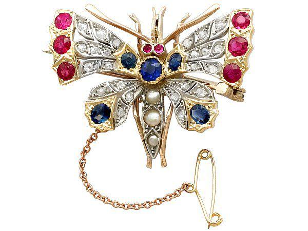 Sapphire Butterfly Brooch
