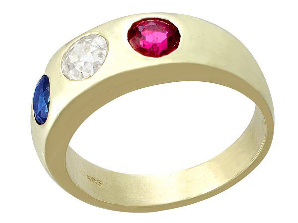 Sapphire Ruby Engagement Ring