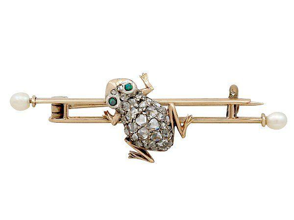 Diamond Frog Pin Brooch