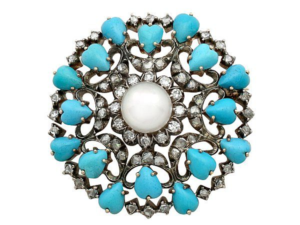 antique turquoise brooch