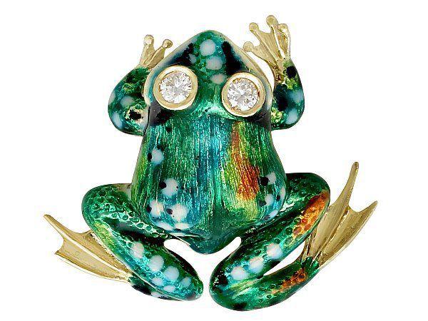 vintage frog brooch