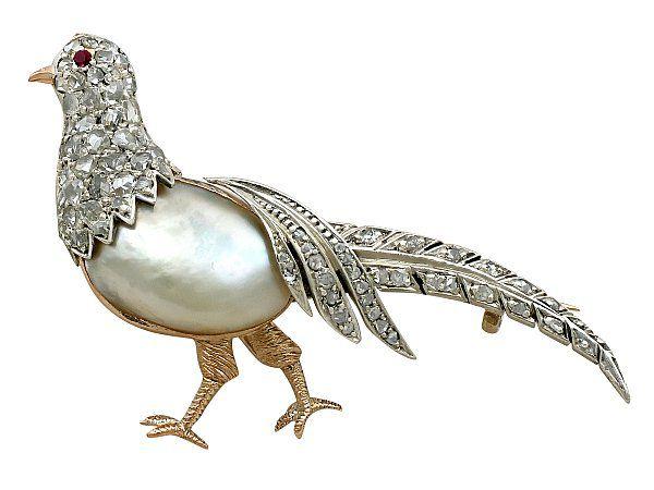 Diamond and Pearl Pheasant Brooch