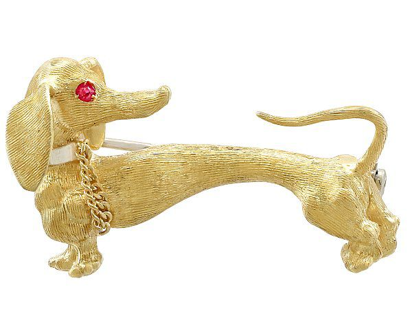 Vintage Ruby and Yellow Gold Dachshund Brooch