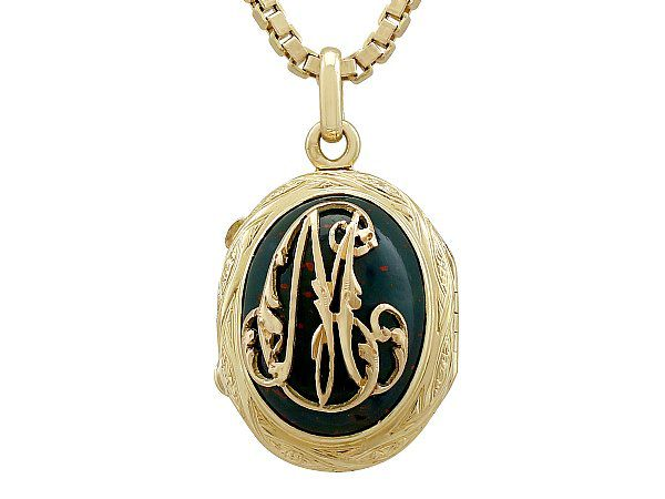 Bloodstone and 18ct Yellow Gold Locket - Antique French Circa 1880