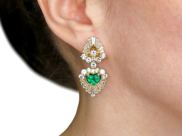 Emerald and Diamond Clip-On Earrings