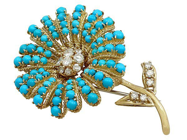 Turquoise floral brooch