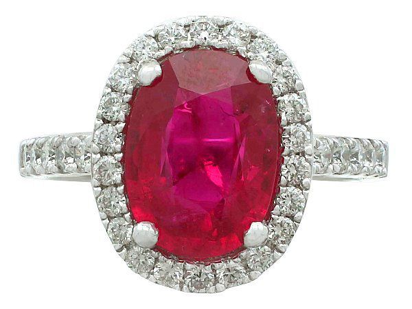 White Gold Ruby Cluster Ring