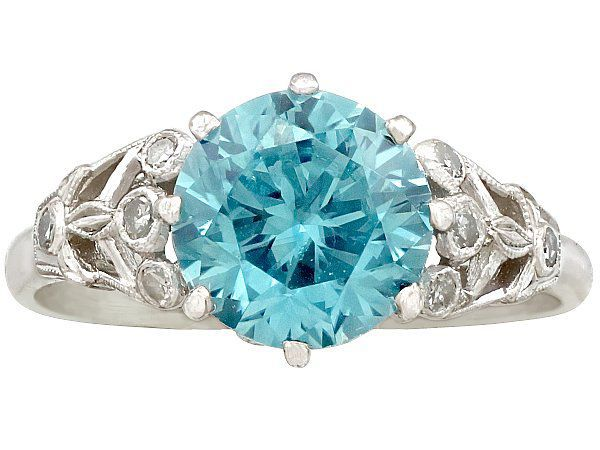 Antique Blue Zircon and Diamond Ring