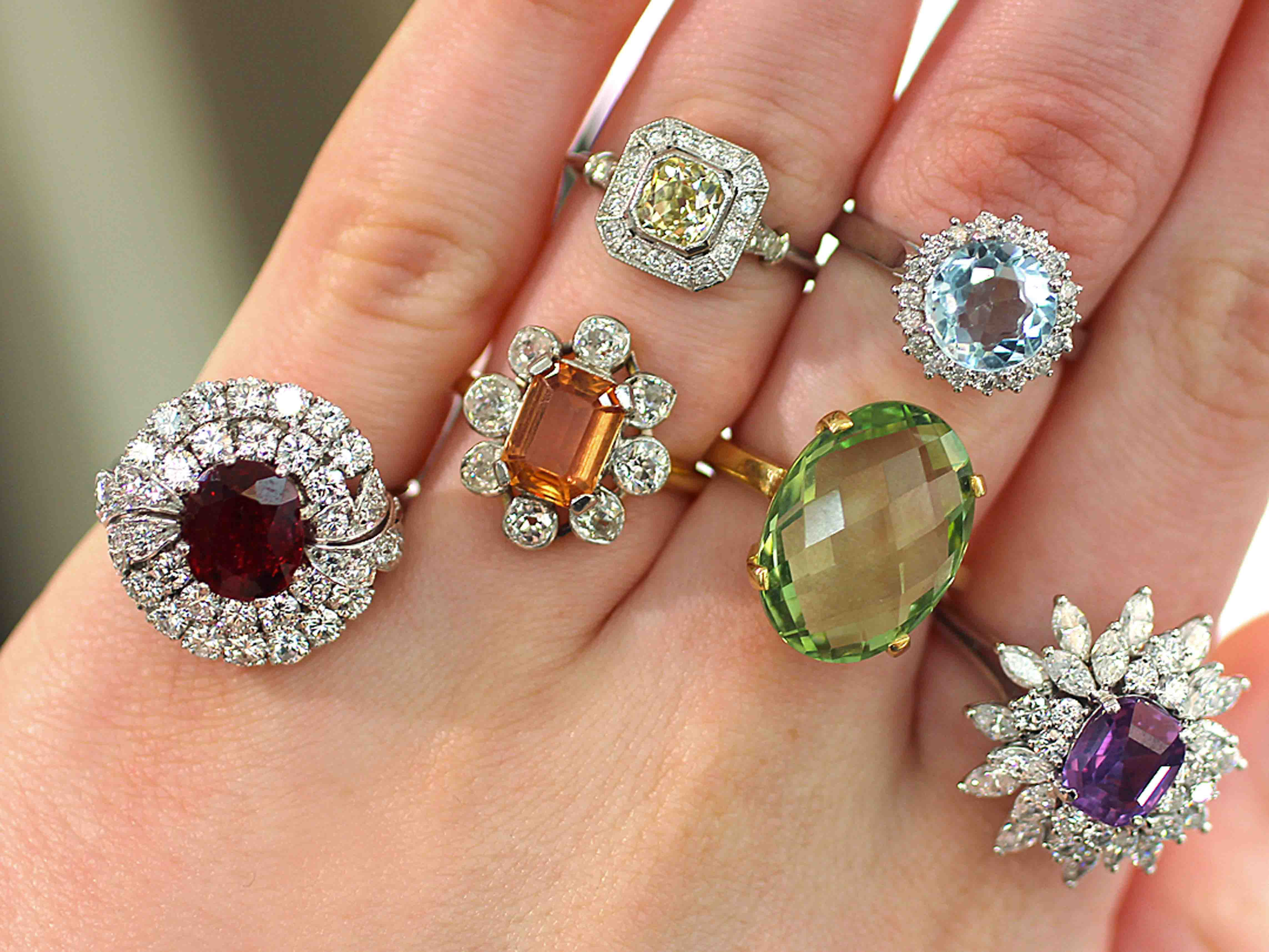 vintage gemstone cocktail rings