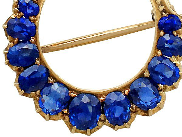 Crescent Moon Brooch Sapphires