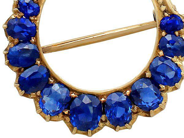Crescent Moon Brooch Sapphires