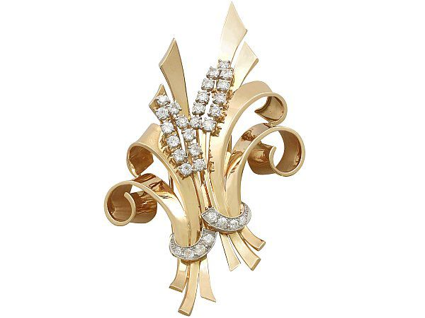 Yellow Gold and Diamond Brooch