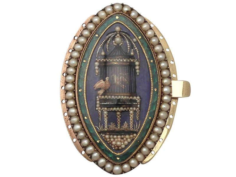 Seed Pearl and Enamel Brooch
