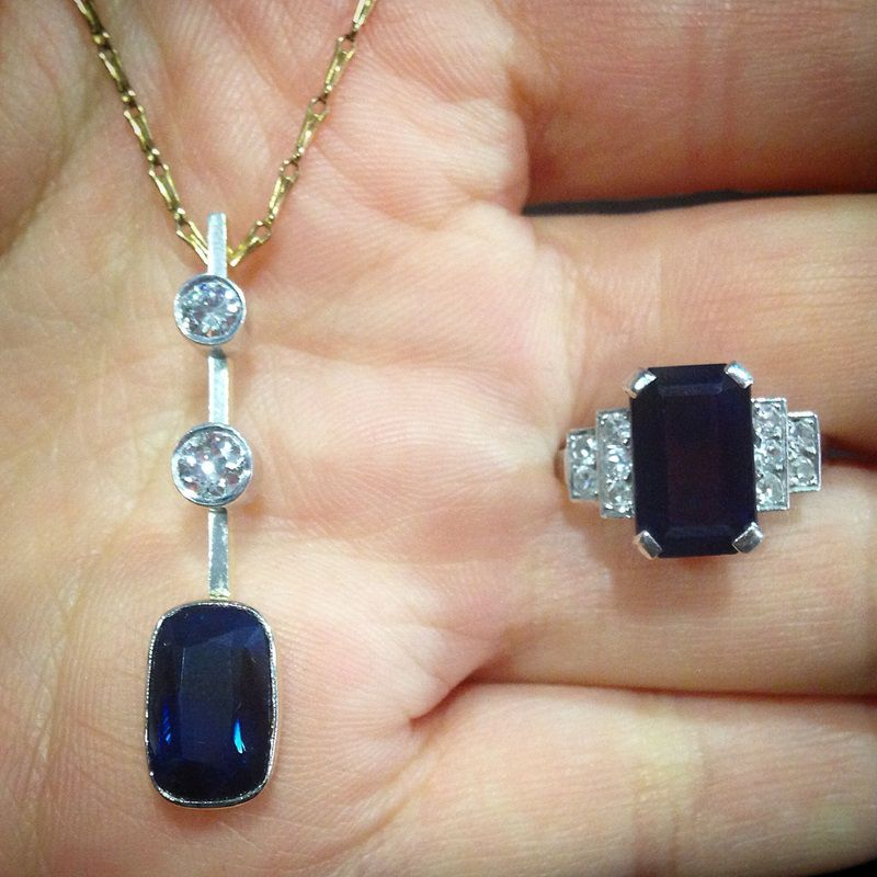 Sapphire Pendant and ring