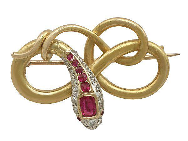 Gold Ruby Snake Brooch