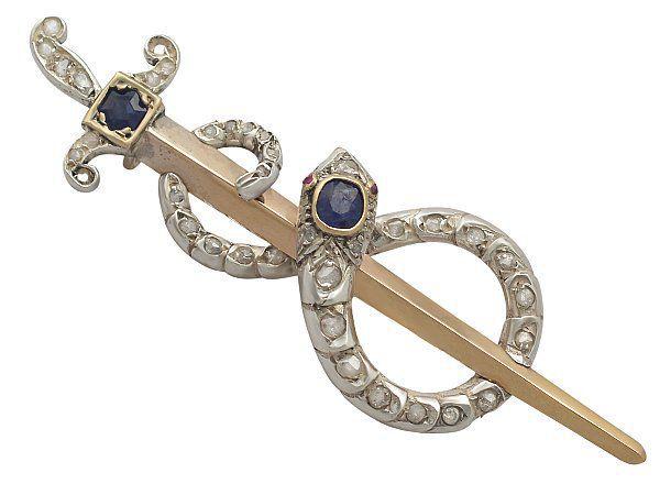 Sapphire and Diamond Snake Brooch