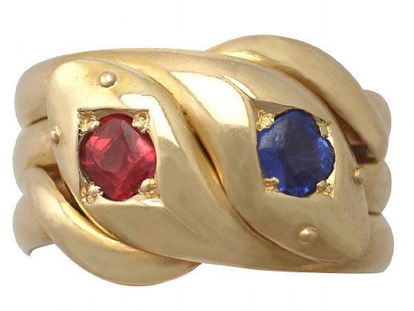 Ruby and Sapphire Snake Ring