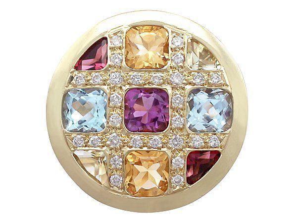 multi gem brooch