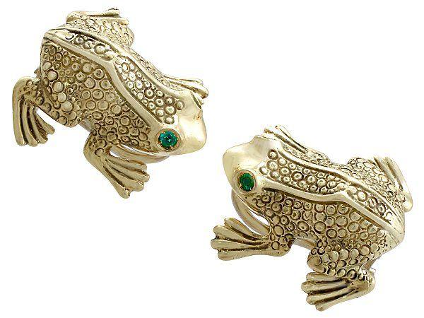 Emerald Frog Earrings