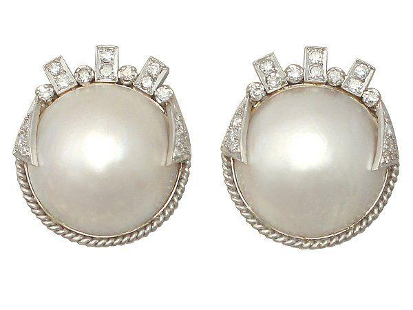 1950s Pearl Art Deco Style Earrings