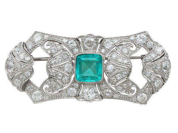 Emerald White Gold Brooch