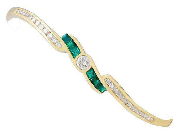 Emerald Yellow Gold Bangle