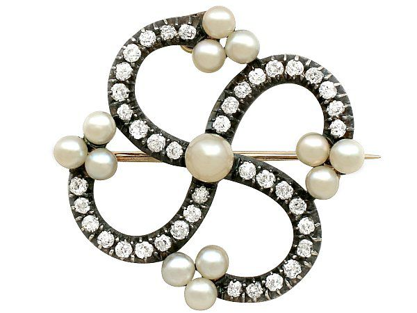 Antique Victorian Diamond and Pearl Brooch