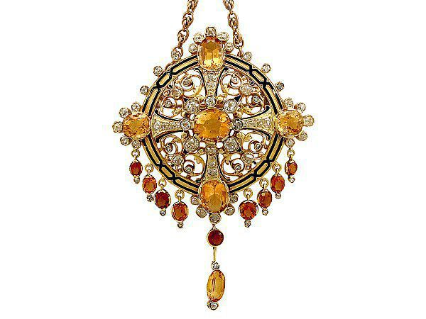Citrine and Enamel Pendant / Brooch