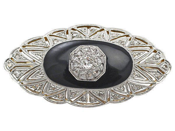 Black Onyx and Diamond Brooch