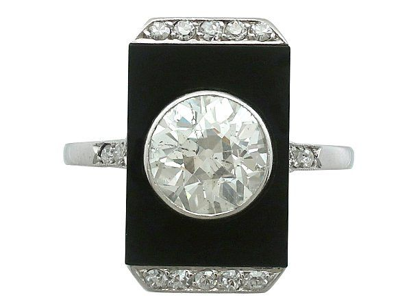 Platinum and Onyx Art Deco Ring